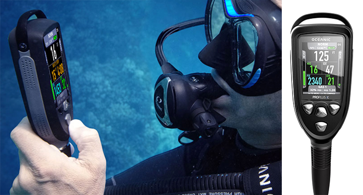 Diver holding the Oceanic Pro Plus Dive Computer