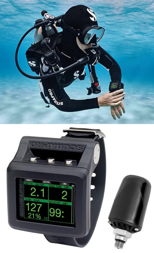 Diver underwater holding the Scubapro G2 Dive Computer